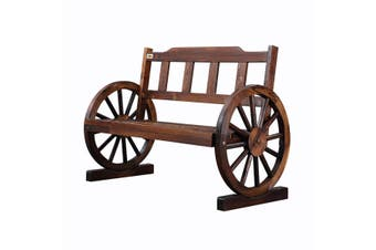 Wooden Garden Bench Outdoor Furniture with Wagon Wheel