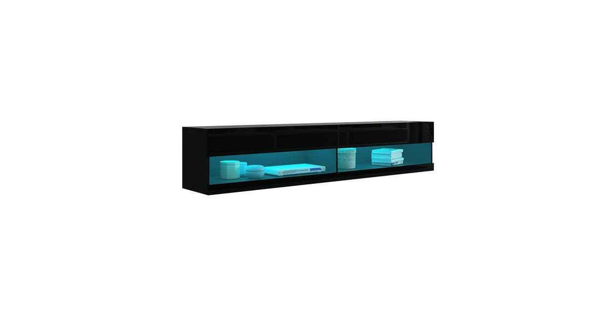 2m wall mount tv cabinet floating wood unit 2 doors shelf high gloss front black