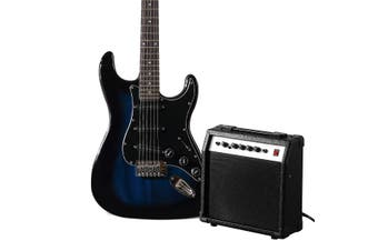Melodic Full Size 39 inch Electric Guitar with Bonus Amplifier Blue
