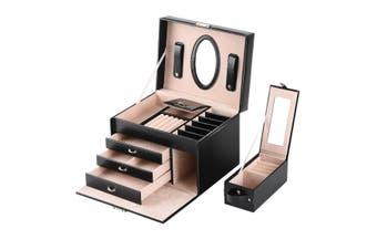 Mirror Jewellery Box Storage Organiser Earring Box PU Leather Cover