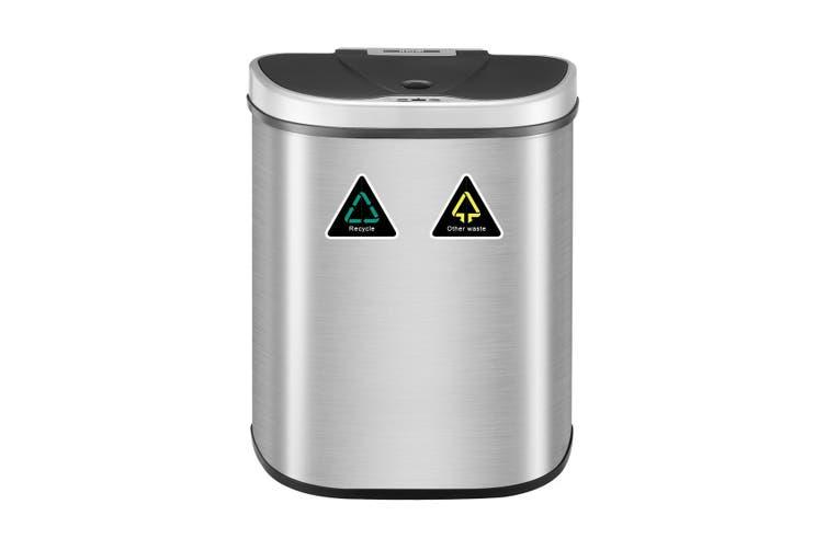 70L Motion Sensor Rubbish Bin Dual Kitchen Waste Can Stainless Steel Recycle Bin