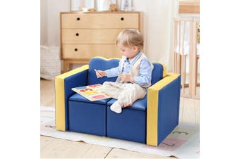 Kidbot 2in1 Kids Sofa 3 Piece Table and Chair Set Children Play Activity Furniture with Storage Space Blue