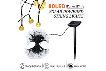 Solar Fairy Lights String Lights Christmas Decorations with 80 LED Crystal Ball Warm White