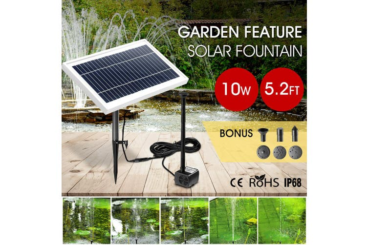 10W Solar Powered Fountain Water Pump for Outdoor Garden Pond Pool