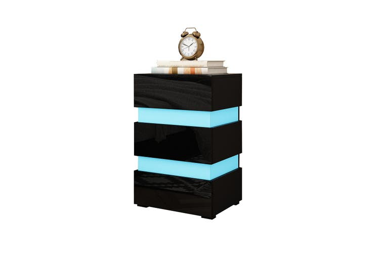 Modern Black High Gloss Front Nightstand Cabinet Bedside Tables with 3 Drawers RGB LED