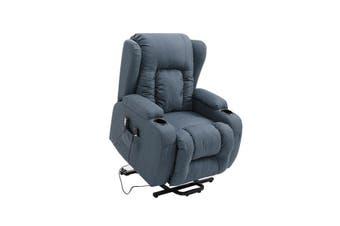 Electric Massage Chair Recliner Linen Fabric Sofa Lift Motor Armchair 8 Point Heating Blue