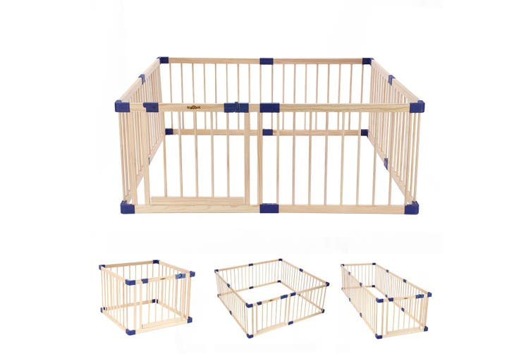 KIDBOT 8 Panel Wooden Baby Playpen Kids Activity Centre Safety Play Yard