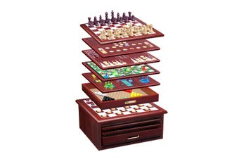 15 in 1 Chess Game Set Wooden Board Game Checker Backgammon Solitaire