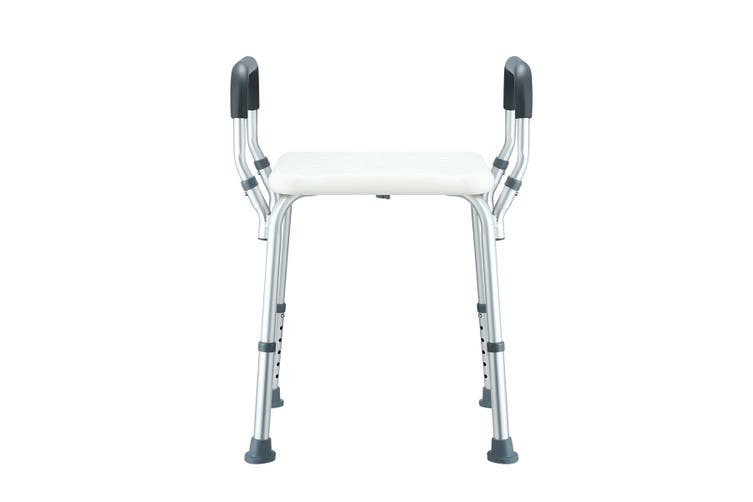 Adjustable Shower Chair Seat Bath Stool with Padded Armrests
