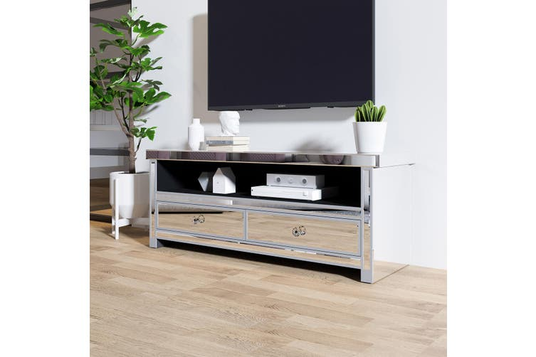 Mirrored TV Stand Cabinet 2 Drawers TV Console Entertainment Unit Home Furniture