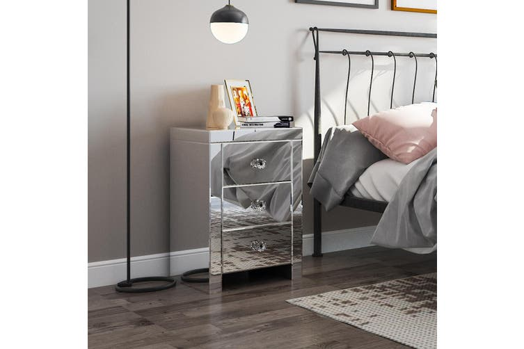 Mirrored Bedside Table 3 Drawers Nightstand Side Cabinet Bedroom Furniture