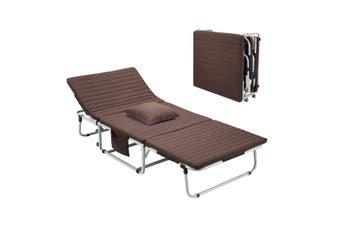 Brown Foldable Bed Mattress 3 Fold Single Folding Recliner Sofa Portable Camping Bed