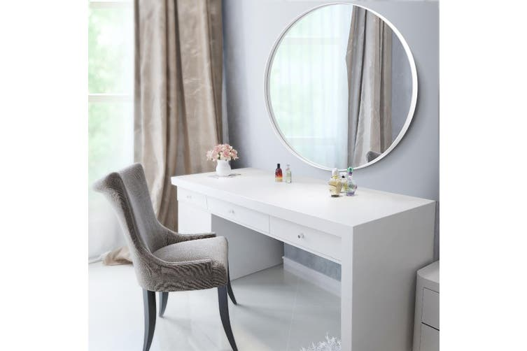 White Large Round Mirror Decorative Wall Mirror 80cm Matt Blatt