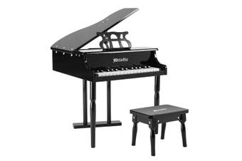 Melodic 30 Key Children Kids Grand Piano Wood Toy with Bench Music Stand Black