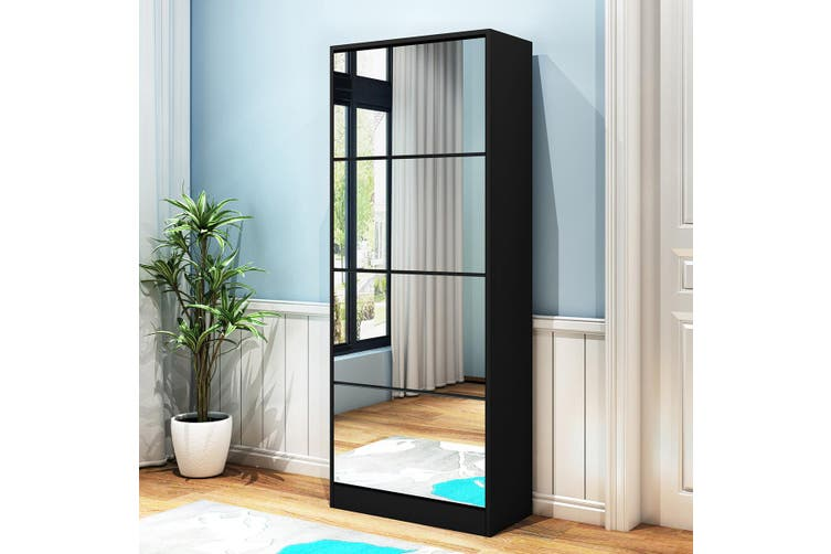 New 60 Pairs Wood Shoe Storage Cabinet 4-Rack Mirrored Footwear Organiser Black
