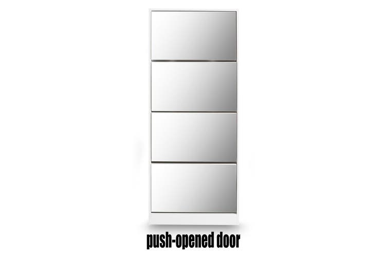 New 60 Pairs Wood Shoe Storage Cabinet 4-Rack Mirrored Footwear Organiser White