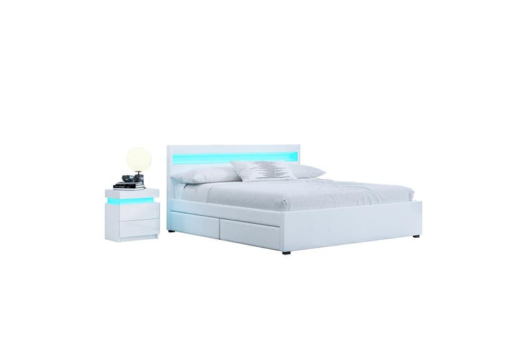 New Double Size Wood Bed Frame PU Leather 4 Drawer Storage Bed Base White
