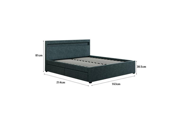New Queen Size Fabric Bed Frame Wood Bedroom Furniture with 4 Drawers LED Grey