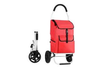 Foldable Aluminium Shopping Cart Trolley Bag Dolly w/ Wheels Red