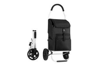 Foldable Aluminium Shopping Cart Trolley Bag Dolly w/ Wheels Black