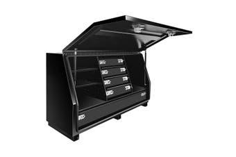 Truck Ute Steel Tool Boxes Storage Checker Plate Toolbox 140cm x 50cm x 75cm Black