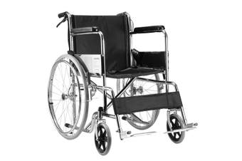 24-inch Steel Folding Wheelchair for Elderly Disabled Mobility Aid Locking Hand Rear Brakes