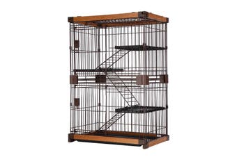 Petscene Large 3-Tier Wired Cat Cage House Hutch Pet Crate w/ WPC Frame