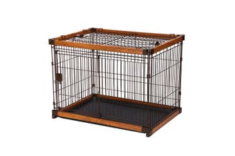 Petscene L Size Cat Dog Wire Crate Pet Cage Enclosure w/ WPC Frame