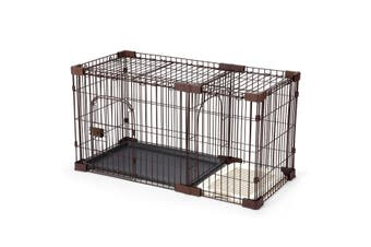 Petscene L Size Foldable Cat Dog Pet Cage Wired Crate House Enclosure w/ Toilet Tray