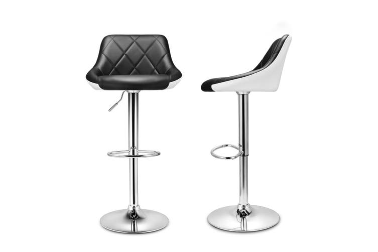 Adjustable Swivel Bar Stools PU Leather for Kitchen Cafe Counter Set of 2 w/ Backrest and Footrest