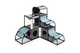 Petscene Multi-Level Cat Climbing Tower Kit Cat Tree Condo House Furniture Scratching Posts