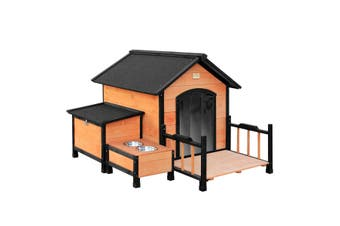 L Size Timber Dog Kennel Pet Dog House w/ Removable Floor Patio Storage Box Food Bowls