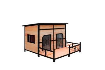 Petscene XXL Wooden Pet House Dogs Kennel Indoor Outdoor w/ Lift-UP Flat Roof Patio 2 Doors