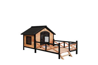 XL Size Wooden Kennel Outdoor Pet Dog House w/ Lift-up Roof Patio