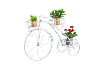 3 Tier Bicycle Shape Plant Stand Metal Flower Pot Holder Display Rack White