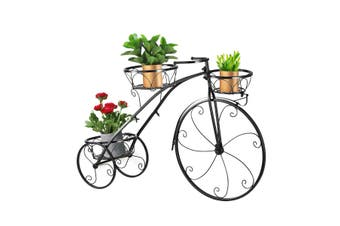 3 Tier Bicycle Shape Plant Stand Metal Flower Pot Holder Display Rack Black
