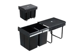 2x 20L Pull Out Trash Bin Kitchen Garbage Waste Basket Under Sink Rubbish w/ Soft-Close Slides