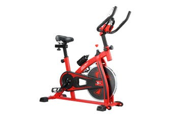 GENKI Spin Exercise Bike Indoor Cycling Bike Training Bicycle with LCD Monitor Red