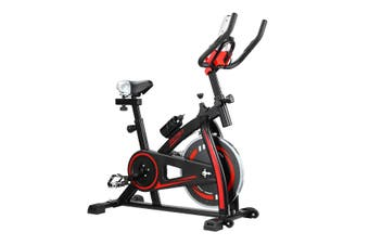 GENKI Spin Exercise Bike Indoor Cycling Bike Training Bicycle with LCD Monitor Black