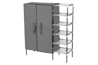 25 Pairs 5 Tier Metal Shoe Rack Cabinet Stackable Shelf Shoe Storage Organizer 2 Rows
