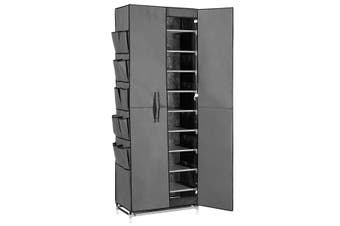 40 Pairs 10 Tier Metal Stackable Shoe Rack Cabinet Shoe Organizer Storage Wardrobe 165cm Grey