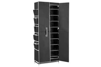 40 Pairs 10 Tier Metal Stackable Shoe Rack Cabinet Shoe Organizer Storage Wardrobe 165cm Black
