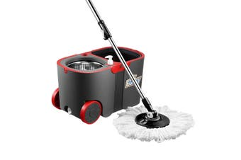 Dr Fussy 360 Degree Spin Rotating Mop and Bucket Set with Wheels and 4 Microfibre Mop Heads