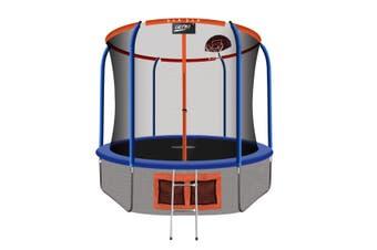 Genki 10ft Round Kids Trampoline with Safety Enclosure & Basketball Hoop