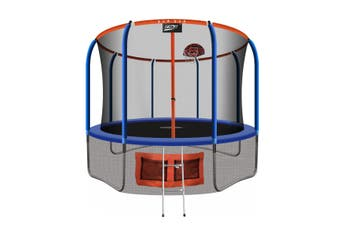 Genki 12ft Kids Round Trampoline with Safety Enclosure & Basketball Hoop