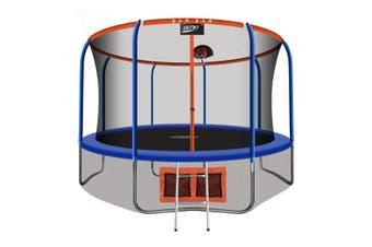 Genki 14ft Round Kids Trampoline with Safety Enclosure & Basketball Hoop