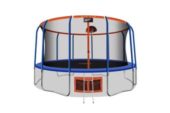 Genki 16ft Round Kids Trampoline with Safety Enclosure & Basketball Hoop