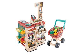 48 Pieces Preschool Kids Pretend Play Shop Grocery Supermarket with Trolley