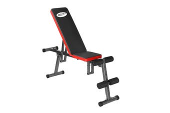 Genki Adjustable Weight Bench Fitness FID Bench Home Gym Black & Red