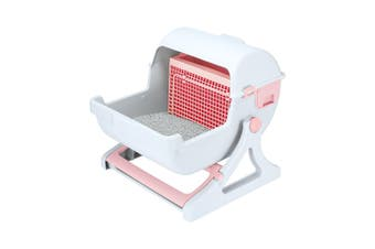 Petscene Cat Litter Box Pet Semi Automatic Cat Toilet Cat Furniture Pink